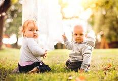 Dos bebés en la hierba en el jardín imagen de archivo