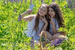Dos bebés hacen el selfie en un teléfono entre las flores en un campo en un día soleado foto de archivo