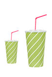 Dos bebidas de la soda con la paja roja Fotografía de archivo