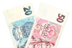 Dos billetes de banco checos de la corona