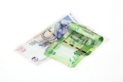 Dos billetes de banco surafricanos en el fondo blanco fotos de archivo libres de regalías