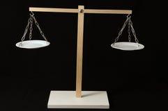 Dos blanco Pan Balance Imagen de archivo libre de regalías