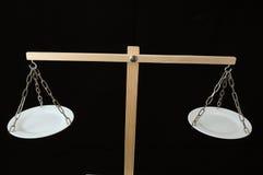 Dos blanco Pan Balance Imágenes de archivo libres de regalías