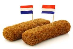 Dos bocados holandeses llamaron el kroket fotografía de archivo libre de regalías