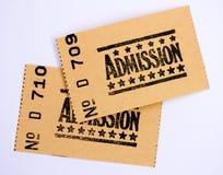 Dos boletos de la admisión Fotos de archivo libres de regalías