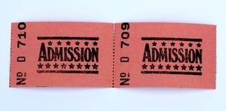 Dos boletos de la admisión Fotos de archivo