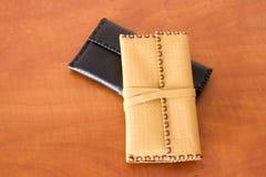 Dos bolsas de tabaco de cuero Fotografía de archivo