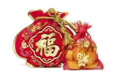 Dos bolsos chinos del regalo del Año Nuevo imagen de archivo libre de regalías