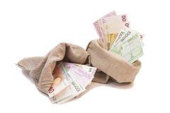 Dos bolsos del dinero con euro Imagenes de archivo