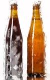 Dos botellas de cerveza en una superficie reflexiva Imágenes de archivo libres de regalías