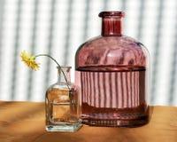 Dos botellas de cristal y Wildflower Fotos de archivo libres de regalías
