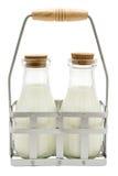 Dos botellas de leche Foto de archivo libre de regalías