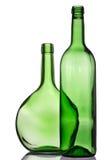 Dos botellas verdes Fotos de archivo libres de regalías