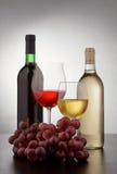 Dos botellas y vidrios de vino Fotografía de archivo libre de regalías