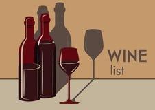 Dos botellas y vidrios de vino stock de ilustración