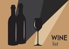 Dos botellas y vidrios de vino ilustración del vector