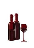 Dos botellas y vidrios de vino libre illustration