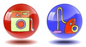 Dos botones brillantes transparentes con las imágenes a mano ilustración del vector