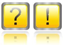 Dos botones con la pregunta y la respuesta Fotos de archivo