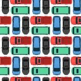 Dos brinquedos coloridos do carro da vista superior vetor sem emenda do projeto do transporte da roda do transporte de automóvel  Fotografia de Stock Royalty Free