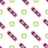 Dos brinquedos coloridos do carro da vista superior vetor sem emenda do projeto do transporte da roda do transporte de automóvel  Fotografia de Stock