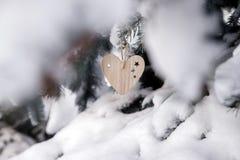 Dos brinquedos de madeira sob a forma do coração Fotos de Stock Royalty Free