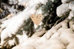 Dos brinquedos de madeira sob a forma do coração Imagens de Stock