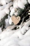 Dos brinquedos de madeira sob a forma do coração Imagens de Stock Royalty Free