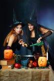 Dos brujas de víspera de Todos los Santos Imágenes de archivo libres de regalías