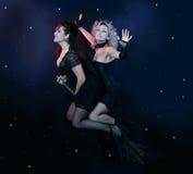Dos brujas que vuelan en la escoba Imagen de archivo