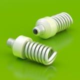 Dos bulbos ahorros de energía stock de ilustración