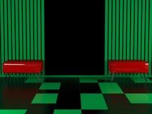 Dos butacas rojas modernas en el cuarto Imagen de archivo