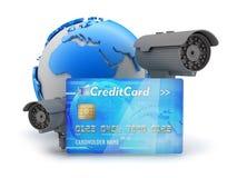 Dos cámaras, tarjetas de crédito y globos de la tierra Fotografía de archivo libre de regalías