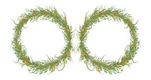 Dos círculos de flores con las hojas stock de ilustración