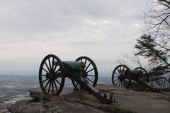 Dos cañones de la era de la guerra civil Imagenes de archivo