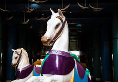 Dos caballos blancos del carrusel en la 'promenade' oscura Fotografía de archivo libre de regalías