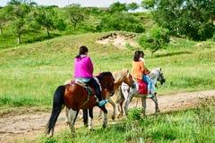 Dos caballos de montar a caballo de las mujeres en el prado Fotos de archivo libres de regalías