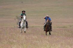 Dos caballos de montar a caballo de los hombres a la velocidad Fotos de archivo libres de regalías