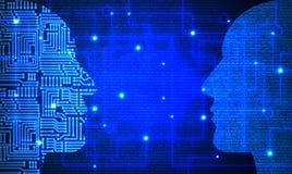 Dos cabezas con el circuito y el modelo de código azul que se hacen frente imágenes de archivo libres de regalías