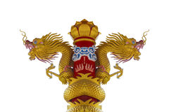 Dos cabezas de Dragon Statue de oro Foto de archivo
