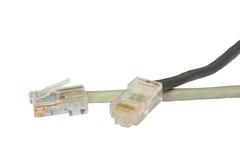 Dos cables de la red de ordenadores Imágenes de archivo libres de regalías