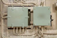 Dos cajas de conexiones eléctricas industriales Foto de archivo libre de regalías