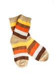 Dos calcetines rayados aislados Fotos de archivo libres de regalías