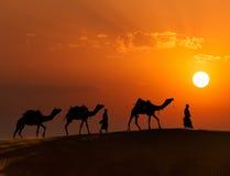 Dos cameleers (conductores del camello) con los camellos en dunas del deser de Thar Fotografía de archivo
