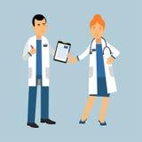 Dos caracteres de los doctores en un blanco cubren derecho y la discusión de la atención sanitaria, ejemplo de la asistencia médi stock de ilustración