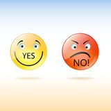 Dos caras, los bienes y los males, sí y no. Foto de archivo