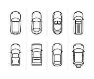 Dos carros ajustados do esboço do vetor opinião superior Ícones do carro do vetor ilustração do vetor
