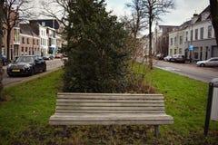 Dos carros calmos médios das árvores da cidade do banco grama velha das casas imagens de stock royalty free