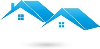 Dos casas, tejados, logotipo de las propiedades inmobiliarias ilustración del vector