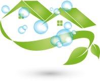 Dos casas y hojas, las propiedades inmobiliarias y el eco contienen el logotipo